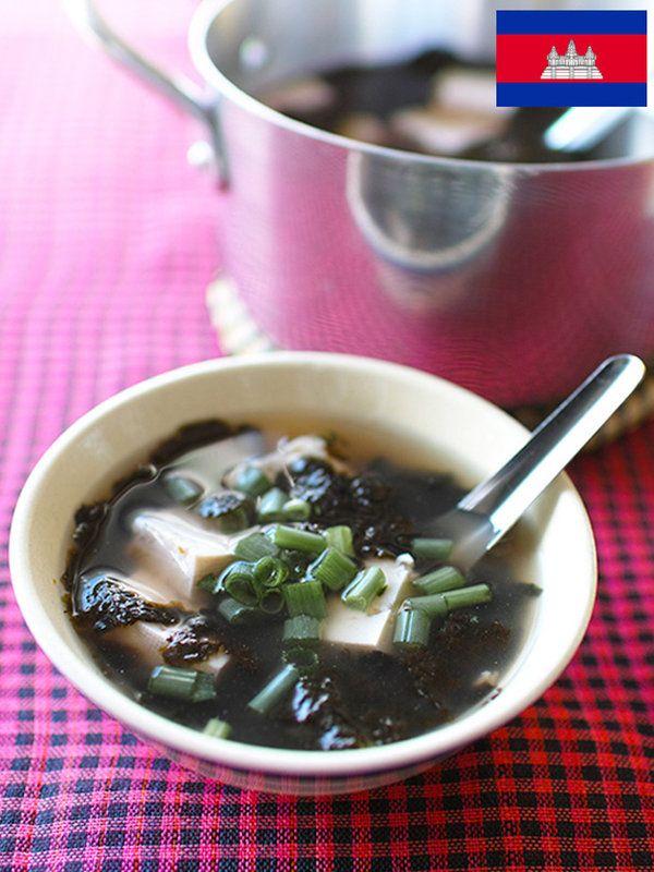 Recipe : ソムローチ(のりと豆腐のスープ、カンボジア)/おなじみに食材なのに、どこかアジアを感じさせる味わい