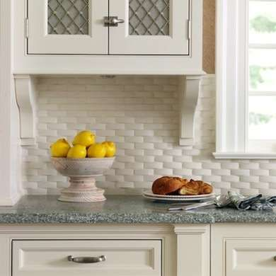 Pure white ceramic basketweave backsplash tile for a fresh accent with texture for a French country kitchen.