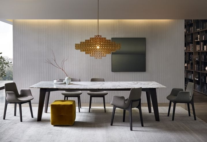 Poliform Arredi Design Contemporaneo Tavolo Howard Sedie