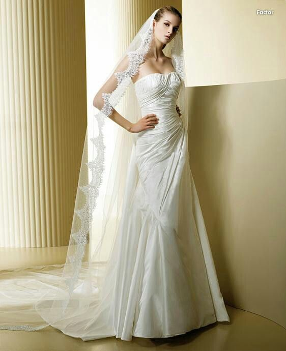 White wedding dress with vale