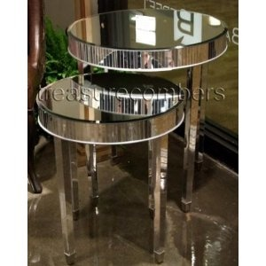 Round Mirrored Side Accent End Tables   Set Of 2   Art Deco   Hollywood  Regency