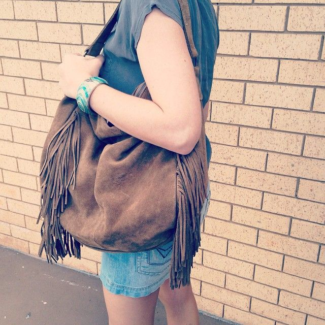 Boho - Large suede tote with fringe frames side. Made in Spain. www.pasionshoes.com.au