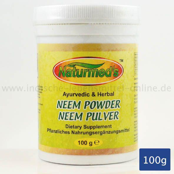 Neem Pulver, Pflanzliches Nahrungsergänzungsmittel, Neem Powder, Amritha Naturmeds, 100g