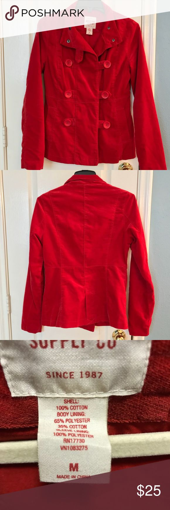 Red Pea Coat Cute Red Pea Coat. Like New. Button closures. Size Medium. Mossimo Supply Co Jackets & Coats