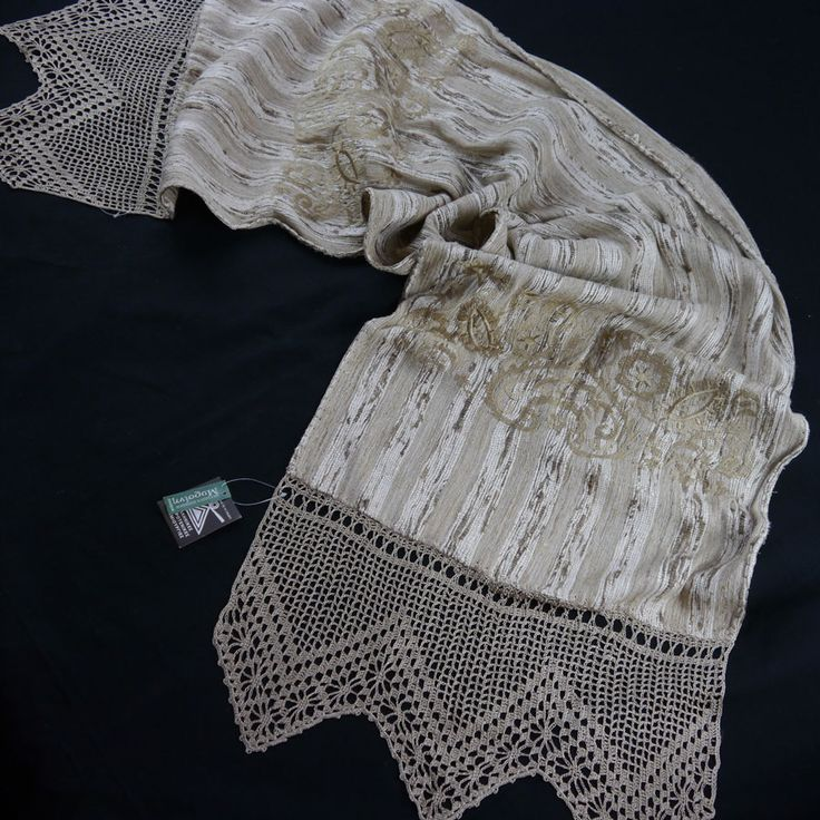 SILK TABLE RUNNER WITH EMBROIDERY AND HANDMADE LACE CROSHET 40