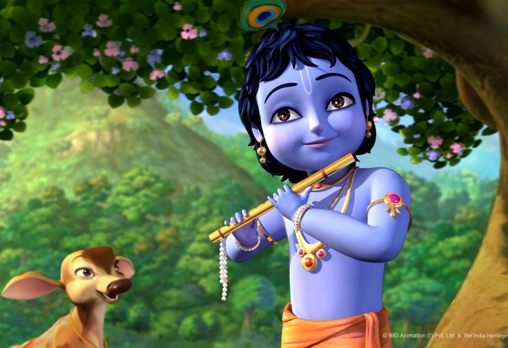 Animated Little Krishna Cartoon Wallpaper HD Picture #6192883 Wallpaper