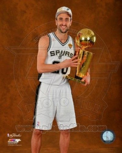 Manu Ginobili with the NBA Championship Trophy Game 5 of the 2014 NBA Finals Photo Print (11 x 14)