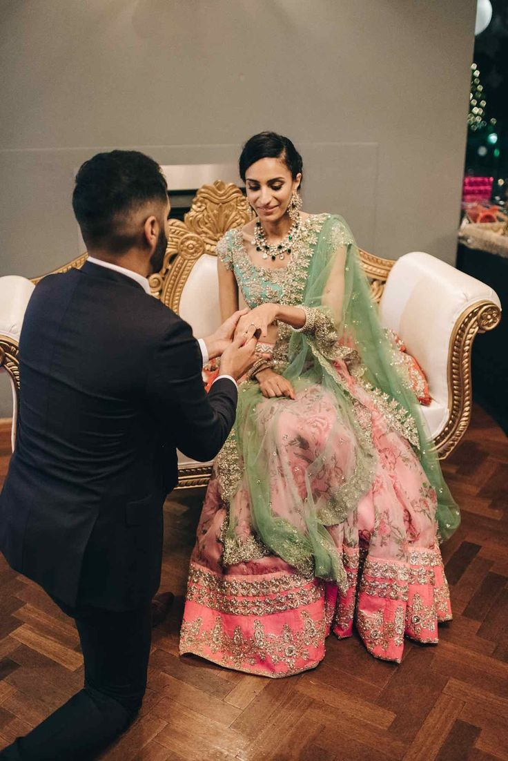 Inderpreet + Simran: A Vintage Fairytale Engagement in Melbourne - exquisite engagement - Anushree Reddy lehenga - Amrapali jewels earrings - pastel pink and green lehenga - pre wedding photo shoot - Indian wedding - Indian engagement - engagement photo shoot #thecrimsonbride