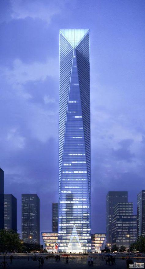 Junhao Tower, Chongqing, China by ECADI :: height 380m