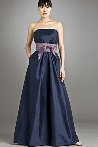 Classic Taffeta Bridesmaid Dress with Lilac Belt