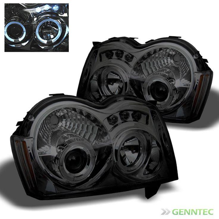 For Smoked 05-07 Jeep Grand Cherokee Twin Halo LED Pro Headlights Head Lights