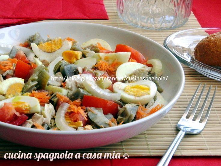 INSALATA DI CARCIOFI, TONNO E UOVA. Ricetta: http://blog.giallozafferano.it/cucinaspagnola/insalata-di-carciofi-tonno-uova-ricetta/