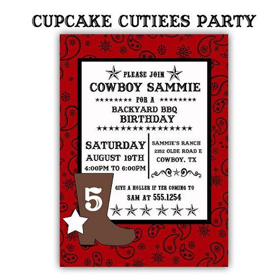 390 best images about Cowboy birthday party – Cowboy Party Invitation