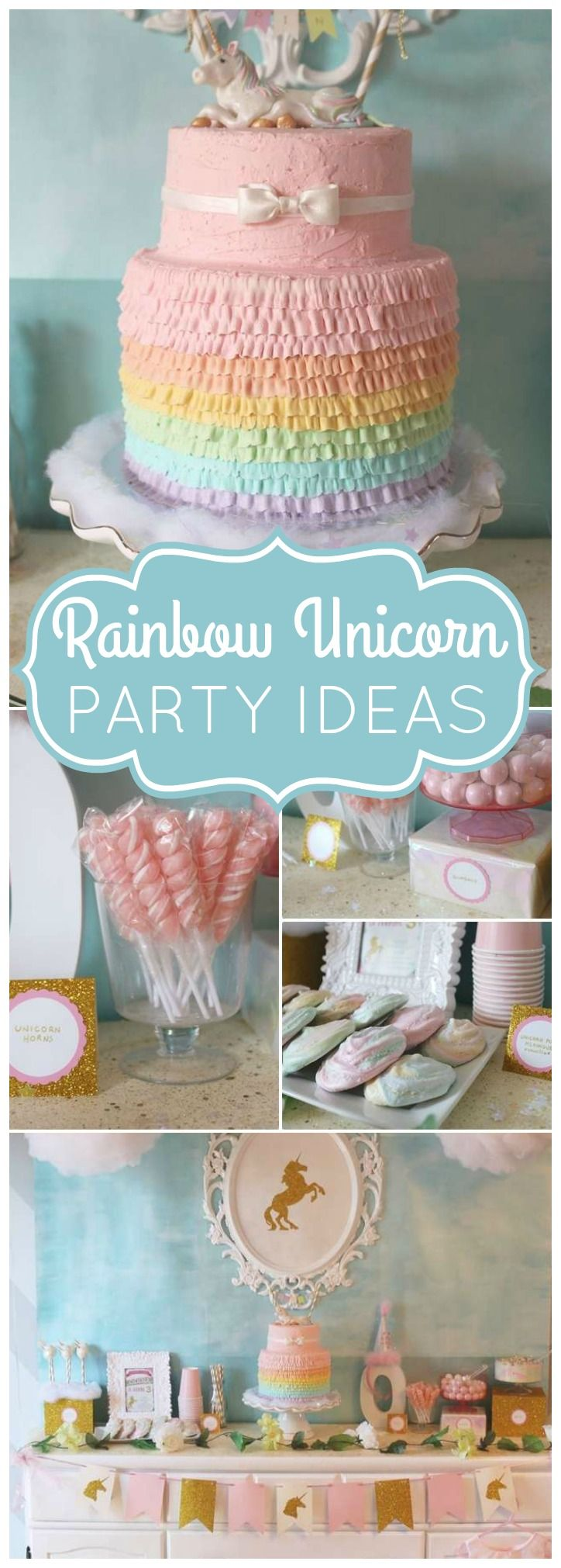 You won't believe this amazing unicorn rainbow party! Love the cake on the first slide! See more party ideas at CatchMyParty.com!