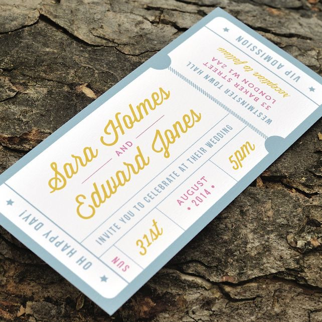 10 best Ticket Style Wedding Invites images on Pinterest
