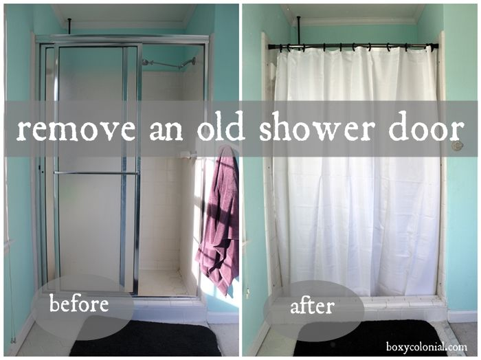 How to remove an old shower door and replace with a shower curtain. Easier to clean and looks great, to boot!