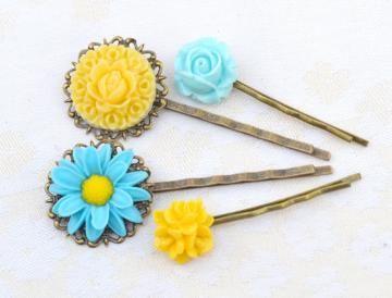 Turquoise yellow aqua blue, resin flower bobby pins