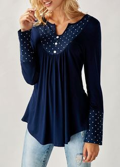 Polka Dot Print Split Neck Navy Curved Blouse | Rotita.com - USD $29.05