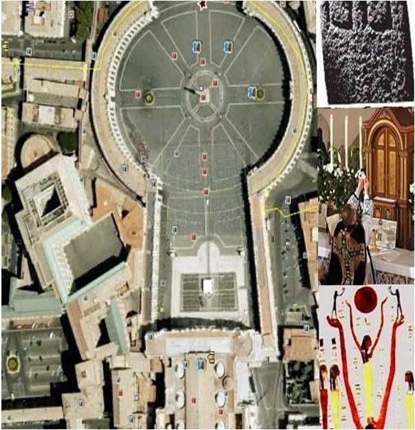 바티칸 시티    바티칸 시티의 모양은 이집트에서 숭배하던 태양의 신 Ra의 상징인 앵크 십자가 모양이다.  앵크 십자가는 이집트의 여러 예술 작품에서 볼 수 있다. 고대 이집트에서 앵크 십자가나 앵크 모양은 영원한 생명을 상징하는 것이다. 그럼으로 바티칸 시티의 모양을 앵크로 했다는 것은 모든 사람들이 영원한 생명, 혹은 영원한 사후세계의 생명을 갈망하는 것을 나타내는 것이다. 또한 카톨릭 신자들이 말하는 Amen은 이집트의 Amon 신에게서 가져온 것으로, 이집트의 종교가 카톨릭에도 뻗어나간 것을 확인할 수 있다. 즉, 종교의 근원은 같으며, 이 프로젝트를 하면서, 종교도 미술같이 서로 영향을 끼치며 지금 이날 까지 왔다는 것을 알 수 있었다.