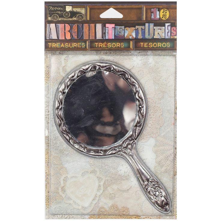 "Canvas Corp 7 Gypsies Architextures Treasures Adhesive Embellishments-Ta - tarnished silver handle mirror 4.75"" tarnished silver handle mirror 4.75"""
