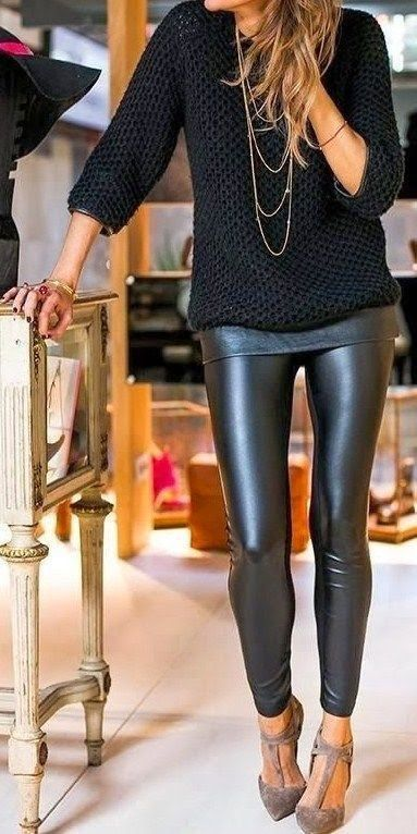 Outfit Ideas For Styling Black Leather Skinny Pants