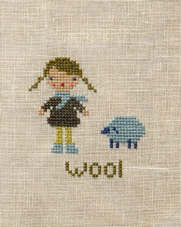 Original cross stitch patterns for the Farm Folks: apples, wool, eggs and butter.