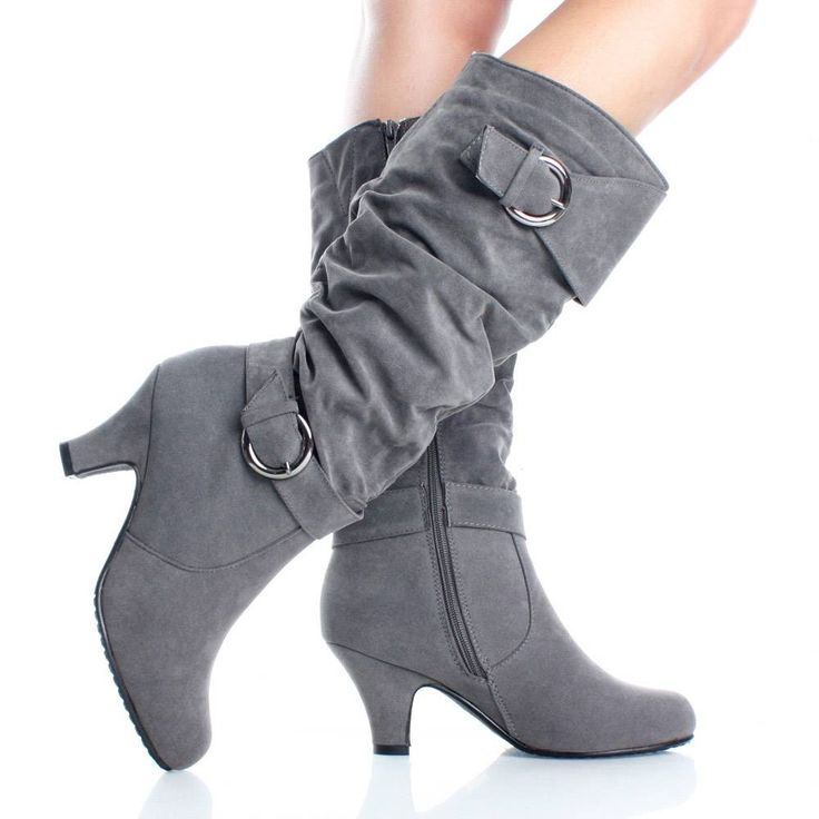 """Gray suede tall boots arrived in the mail this weekend, and as with the purple ones, they fit DIVINELY. Sooo cute and comfortable! 3"""" heel, 15"""" shaft, 14.5"""" circumference. Priced just right at $17. Now I want to get every color (have the purple, also comes in tan, dark brown, black, and pink)."""