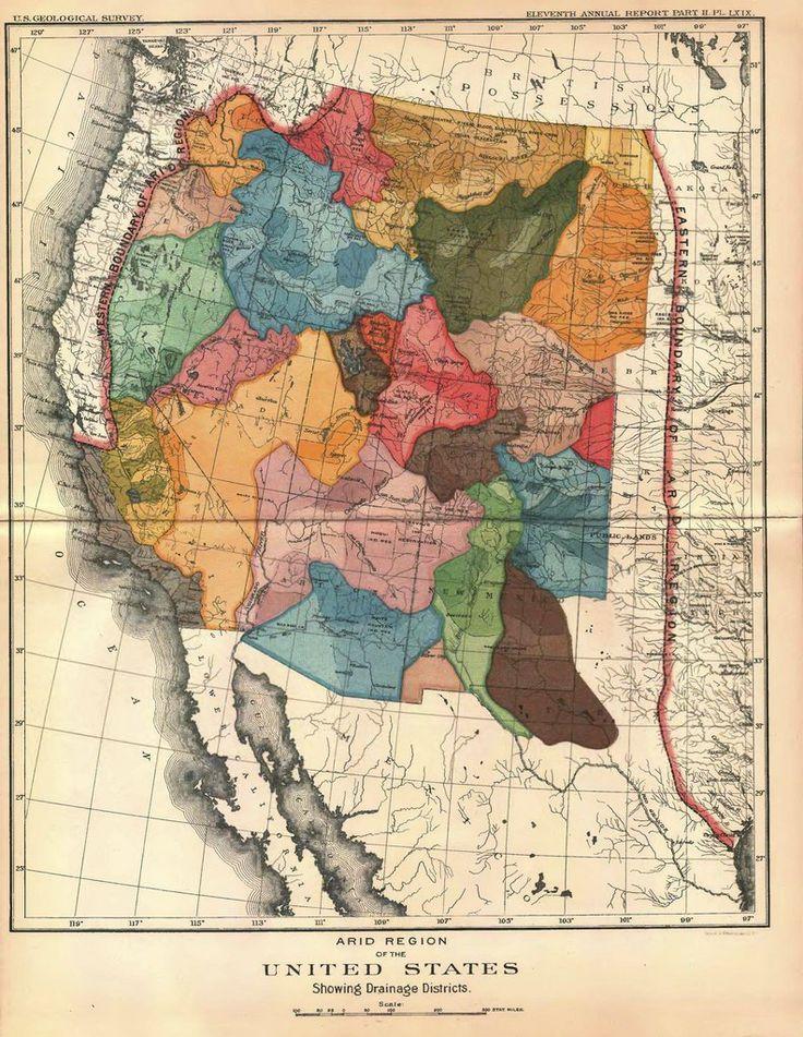 John Powells 1890 Map Of The US West 674 X 2165
