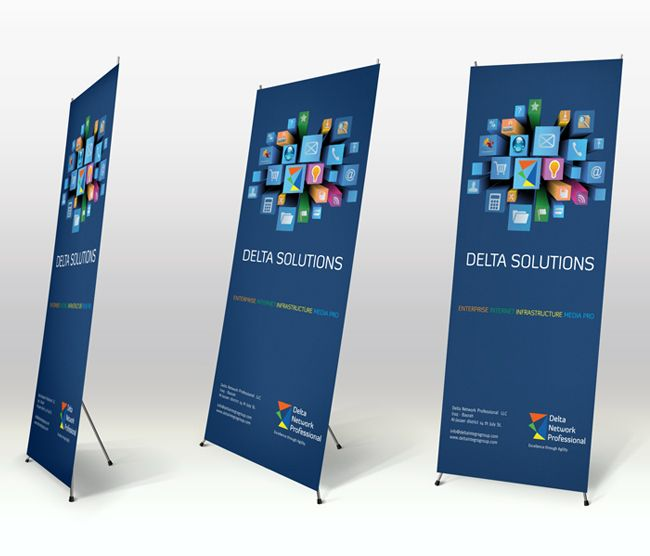 Banner Design Ideas modern banner with yellow geometric shapes Oriental Cis Roll Up Design For Delta Network Professional