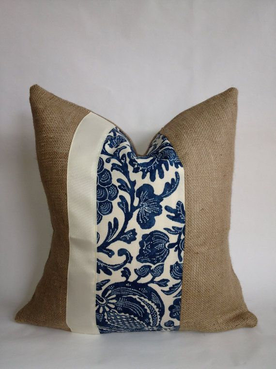 Blue and Cream Indoor/Outdoor Floral and Burlap by BouteilleChic, $18.00