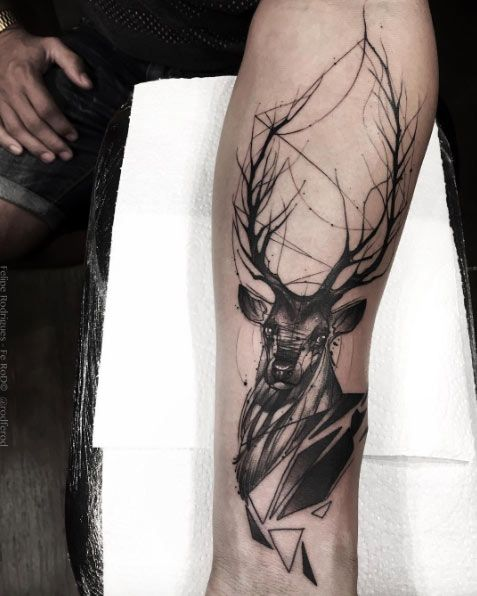 Blackwork stag by Felipe Rodrigues Fe Rod