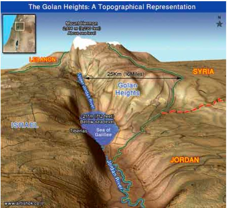 Water rich Golan Heights belonging to Syria
