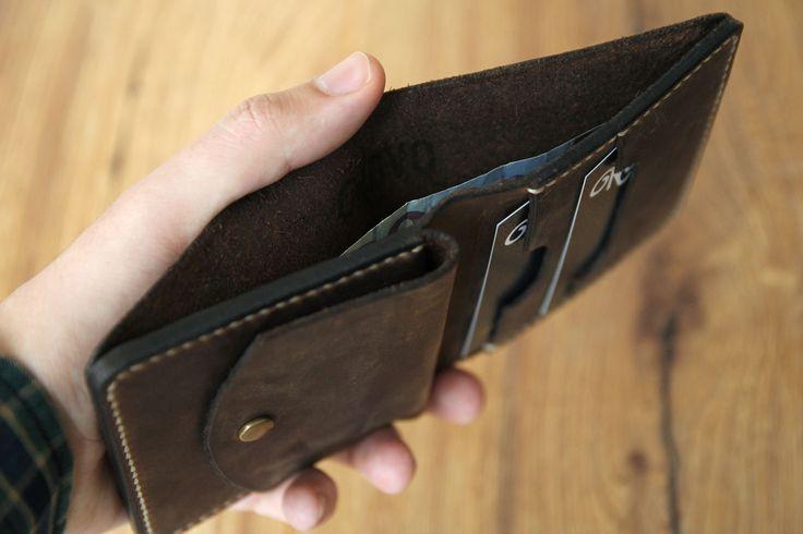 Herren Leder Portemonnaie Brieftasche groß vintage
