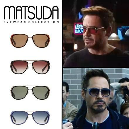 9fc44a7244a Matsuda Sunglasses M3023 worn by Tony Stark in Iron Man 3. Available in 4  different colors and two differe…