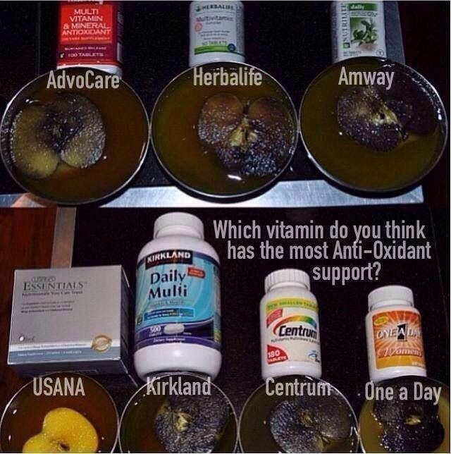 Apples in water with tablet of each product USANA Mega Antioxidant is part of the USANA Essentials www.solutions4life.usana. Com
