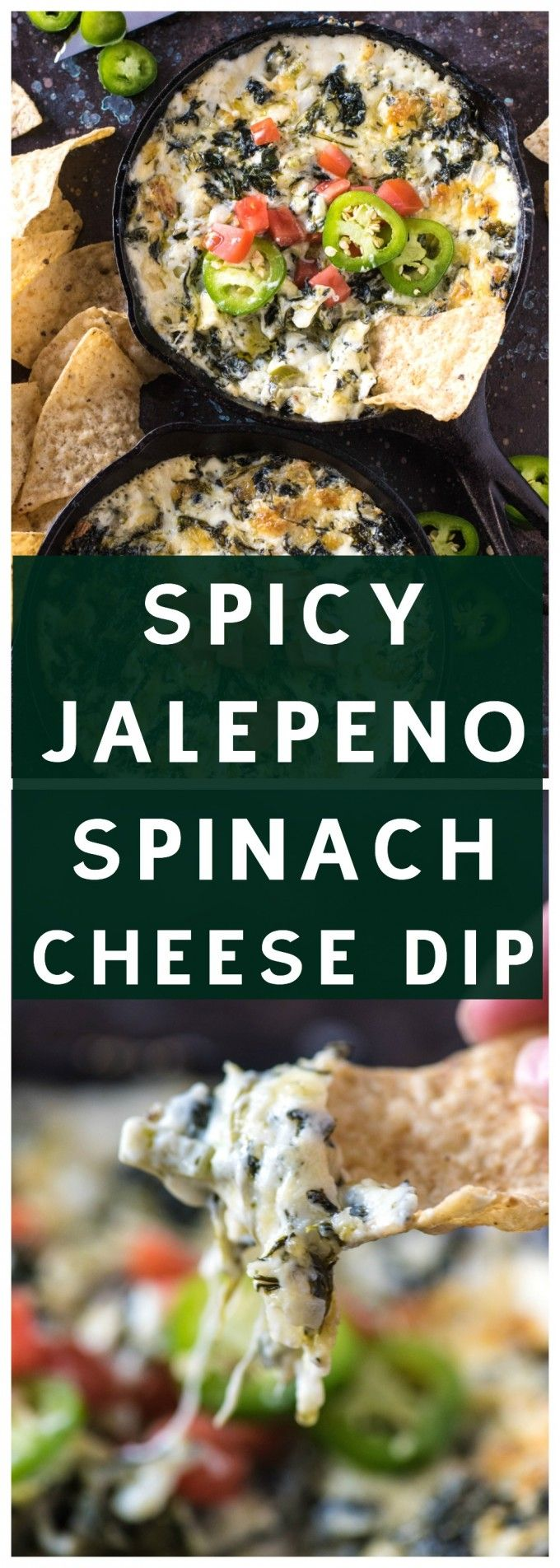 Spicy Jalepeño Spinach Cheese Dip is a quick and easy appetizer- you'll love this spicy twist on a cheesy classic! via @gogogogourmet