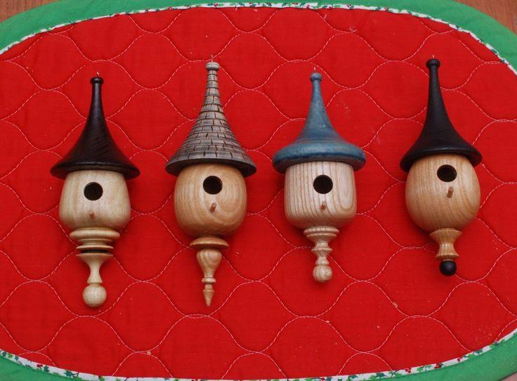 A wood turned Christmas. Mini Birdhouse Ornaments