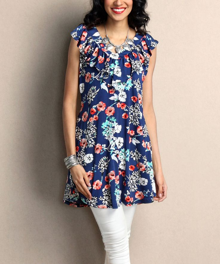 This Blue Floral Ruffle V-Neck Sleeveless Tunic by Reborn Collection is perfect! #zulilyfinds