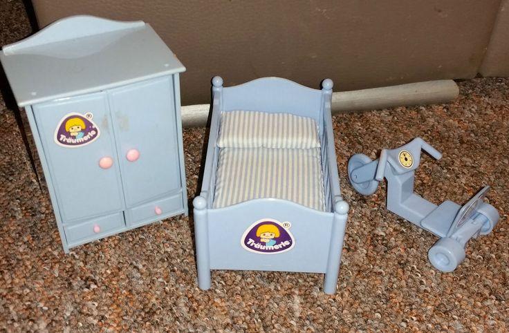 Träumerle Paradies Puppenstuben Möbel Vintage Kinderzimmer Bett Schrank Dreirad