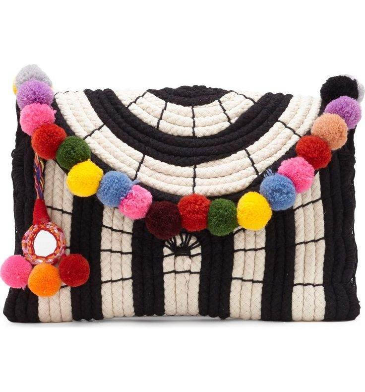 Multi-hued pompoms highlight the curved flap of this striped rope clutch that channels carefree vintage personality.