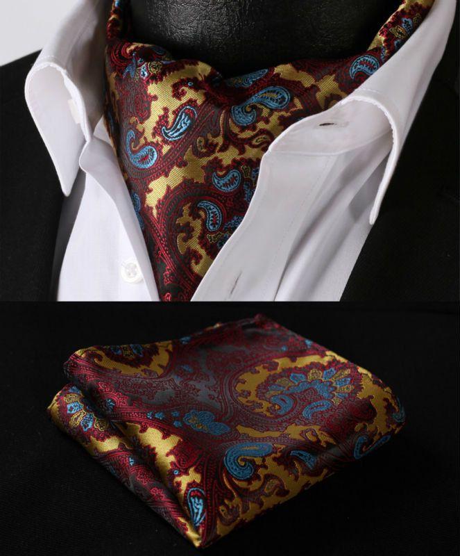 RF201N Orange Yellow Paisley Silk Cravat Woven Ascot Hanky Handkerchief Set