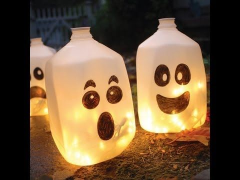 Homemade Halloween Decorations (Ghost lanterns) - YouTube