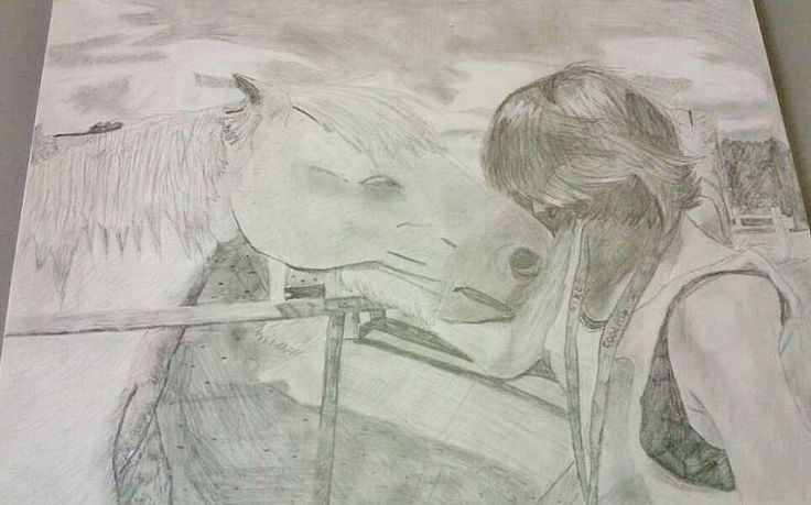 July 2014 - Drew my sister with a horse for my structure final piece :P