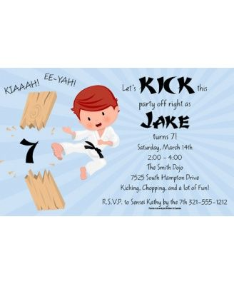 Karate Kid Birthday Party Invitation