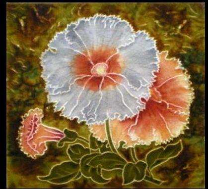 Minton Majolica Art Nouveau Tile, Floral. Glazed and Confused
