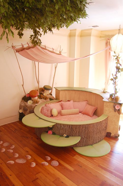 """Maybe I need a """"wow"""" board. Custom made bed in a fairy themed bedroom that is totally a part of a tree. Love this. You need to click through to see the other pictures of the room and the details on the bed and how they did it. Totally awesome."""