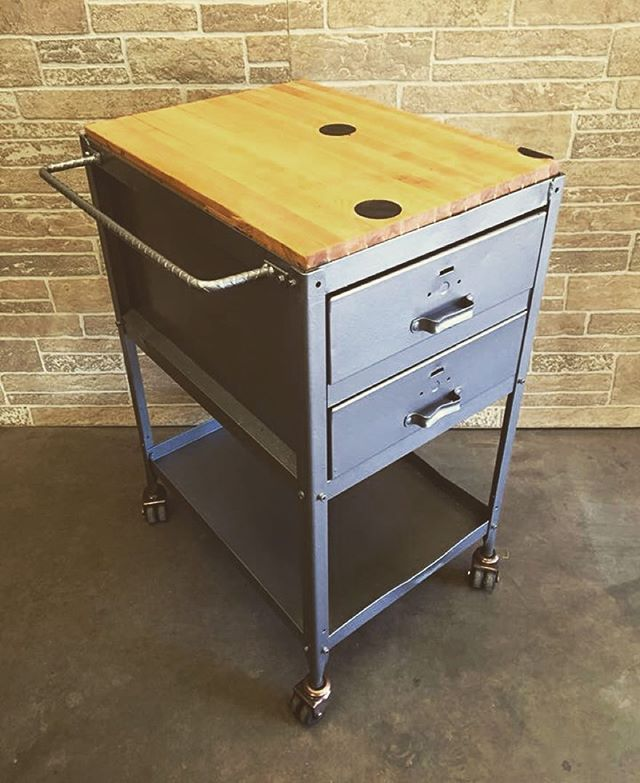 Vintage Lyon co tool cart with rock maple bowling lane top and custom rebar handle( towel bar ). Perfect for kitchen prep or pouring drinks!  Available @midmodmen #midcentury #ferrousfurnishings #forsale #forsale #machineage #upcycle #industrial #industrialdecor #industrialdesign #barcart #kitchencart #minnesota #minneapolis