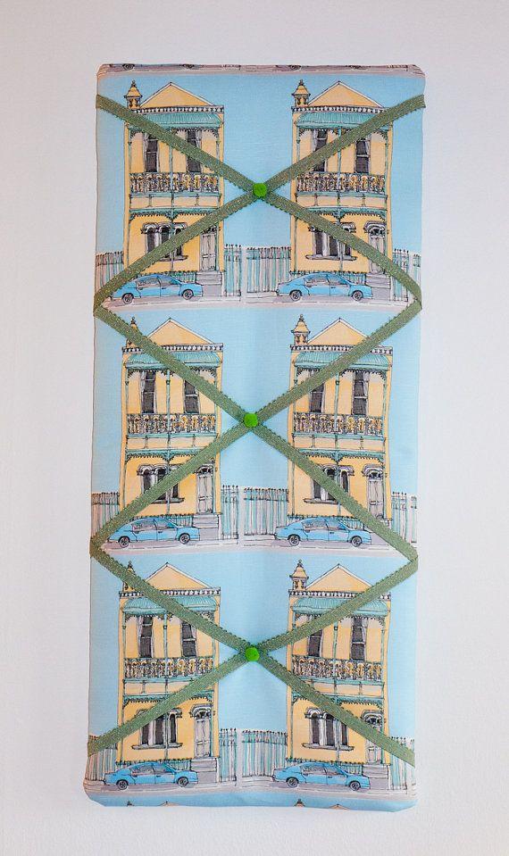Australian terrace houses fabric memo board by freshdarling, $70.00