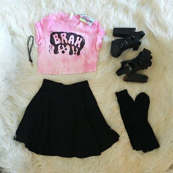 """Pastel Goth """"Brah"""" Printed Crop Top in Pink Tie Die"""