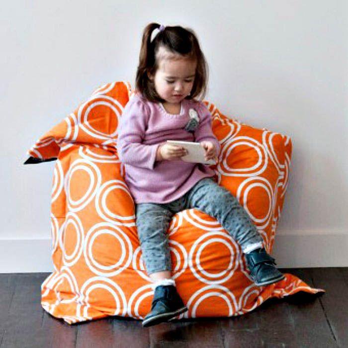 Crashmat-Beanbags-Kids Beanbag {Orange Circles}  $109.95    #limetreekids #toys #kids #play #lounge #beanbag